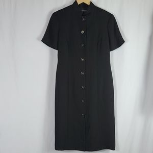 High Neck Black Button Down Dress Padded Shoulders